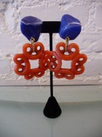 Yves Saint Laurent by Loulou de la Falasie designed resin cobalt and coral earrings, c. 80s. 3 1/2""