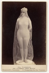 "Ida Florence, ""The California Prize Beauty,"" in body stocking covered with transparent fabric, posed as statue. Image: Charles H. McCaghy Collection"