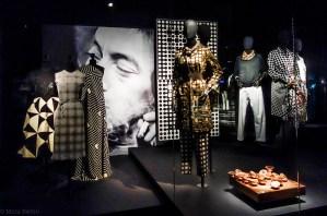 Inspiration Graphic; on the left; Dresses; Balenciaga/Grés 1980/Cortina 1966. Art; Tauri-R, Victor Vasarely, 1966