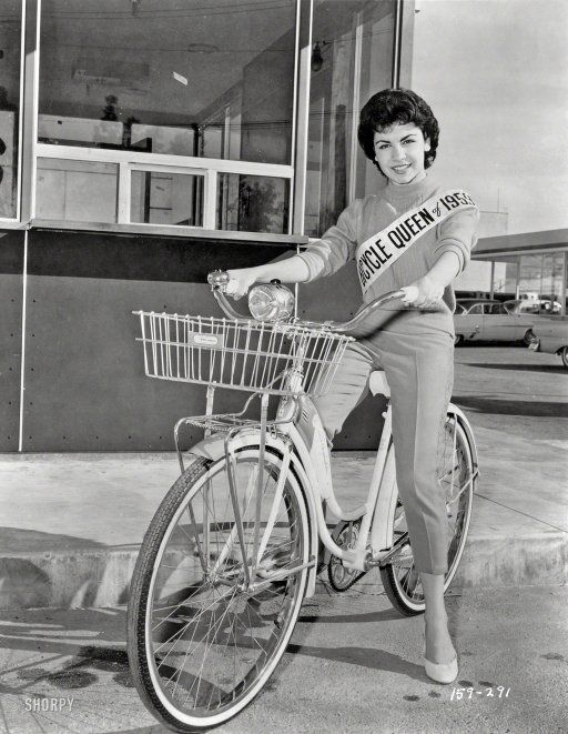 """Bicycle Queen: 1959. March 20, 1959. """"Sixteen-year-old actress Annette Funicello, Bicycle Queen of 1959."""" New York World-Telegram and Sun Photo Collection."""