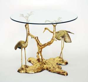 "Stunning Brass Table ""Cranes in Foliage"" attributed to Willy Daro"