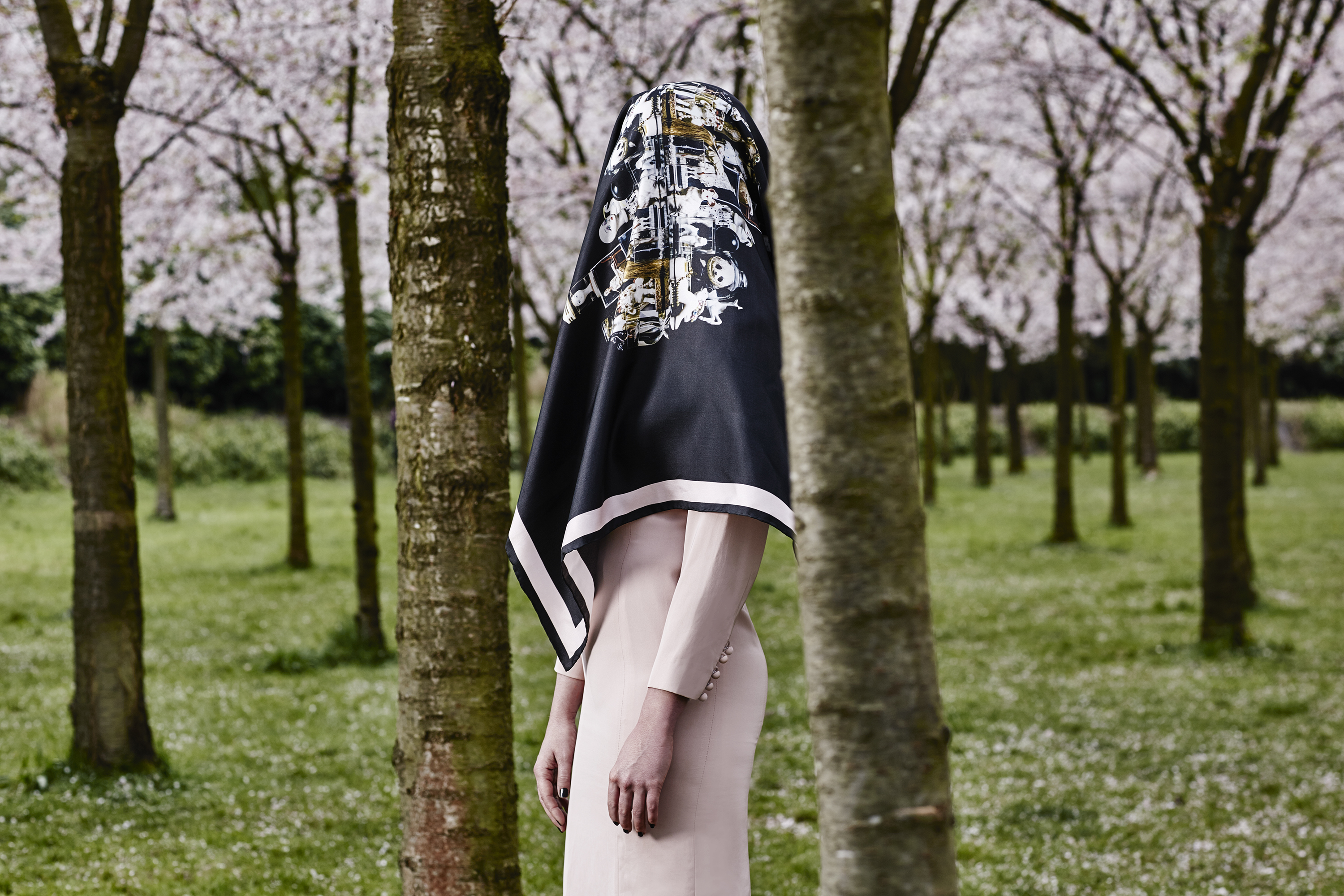 "Headless girl resting at the park. Photography Wendelien Daan. Silk scarf ""mirror""; Mimi Berlin, Dress; Vintage Snatcher's Courreges."