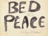 "'Peace of history: John Lennon's 'Bed Peace' art will be familiar ifyou've watched footage of his and Yoko's famous under-duvet protestsin the 1960s - this artwork is expected to bring $100,000 The felt-tip pen on foam board art's provenance goes back to John and Yoko's seven-day ""bed-in for peace"" held in 1969.' (via justcollecting.com)"