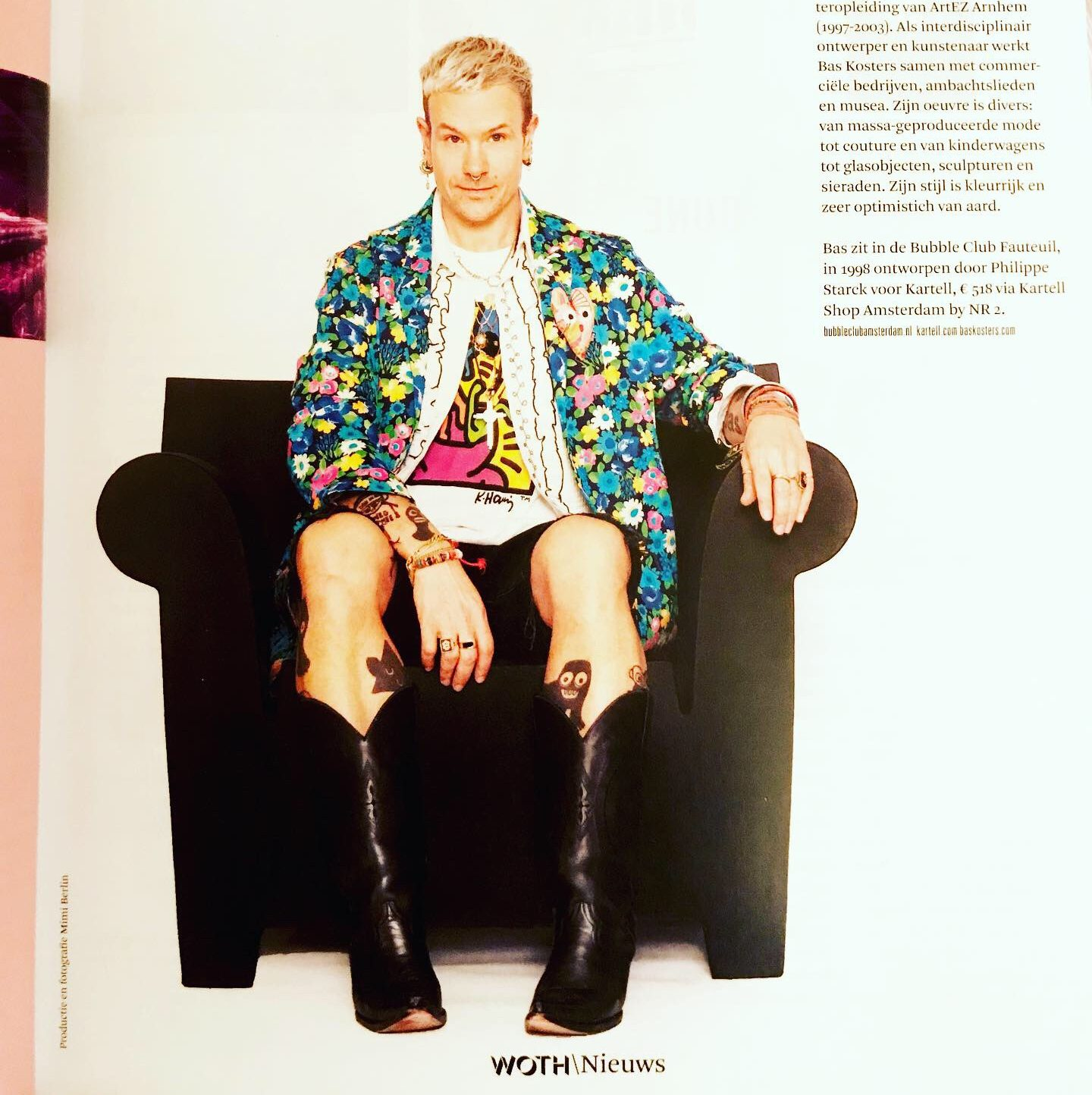 bas kosters in a chair woth magazine 14