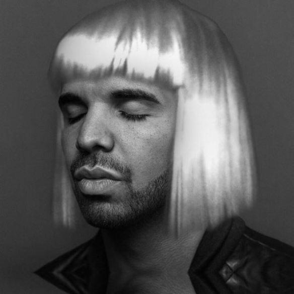 Drake wearing a blonde bob