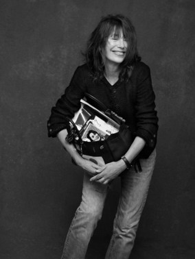 """Jane Birkin with """"her"""" bag by Hermès . Photography by Karl Lagerfeld, styling by Carine Roitfeld taken from their book The Black Jacket (via mybirkinblog.blogspot.nl)"""