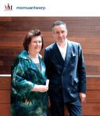 Suzy M & Dries van Noten, Belgium fashion designer, at Momu in Antwerp