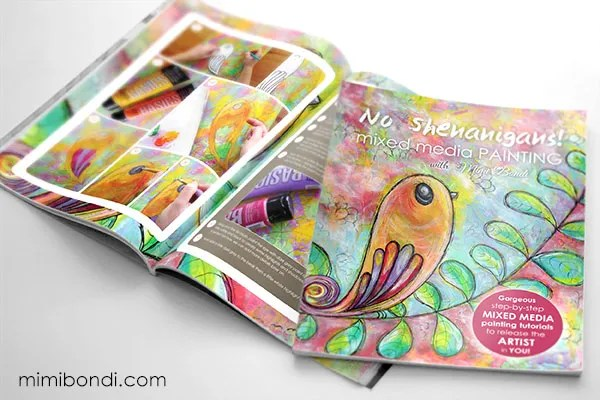 Mixed media book and e-course by Mimi Bondi