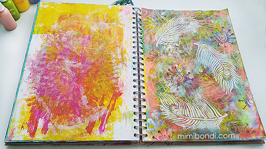 Free art journal tutorial ''As Light as a Feather''| Mimi Bondi