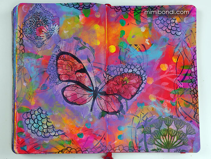 Fly Away! Mixed media tutorial with Dylusions Paint by Mimi Bondi