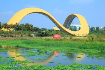 【台南新市景點】迎曦湖公園巨大黃絲帶:台南科學園區舞彩迎賓公共裝置藝術~ 攝影、夜拍、約會好去處~