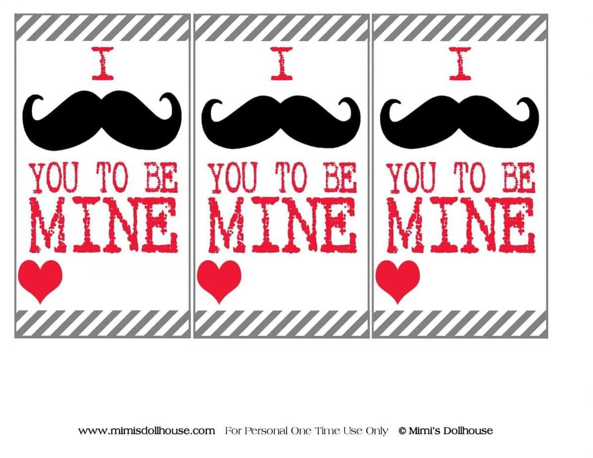 Valentine S Day Mustache Printables