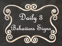 Daily 3 Math Behaviors Signs Black Chalkboard AD PNG