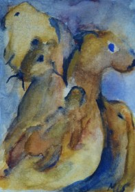 Together at last, 15x10cm in A4 cardboard passepartout, watercolor on paper, SEK 1500,00