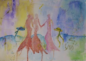 Holding on to the future, 30x42cm Watercolor and acrylic on paper in 70x50cm cardboard passepartout, SEK 4000,00