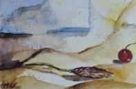 Sleepy morning, 15x10cm in A4 cardboard passepartout, watercolor on paper, SEK 1500,00