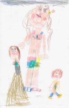 Retrato de la tita con sus niñas por la peque