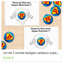 lot de cartes badges super parrain super marraine