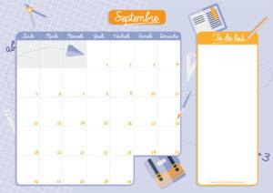 calendrier de septembre à imprimer