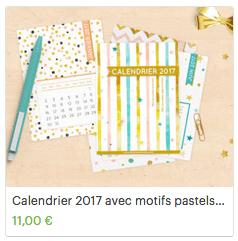 Calendrier 2017 avec motifs pastels scandinaves, cartes calendrier type project life, calendrier mural ou calendrier de planner