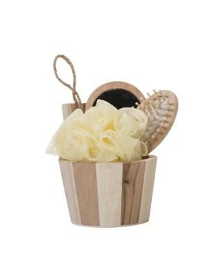 Kit banho de madeira com 3 peças