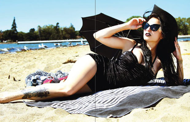 Goth girl on the beach