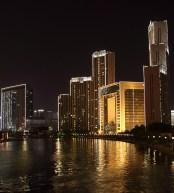 Centrala Tianjin på kvällen