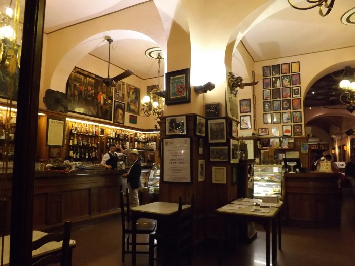 Interior of a cafe in Florence, Italy.