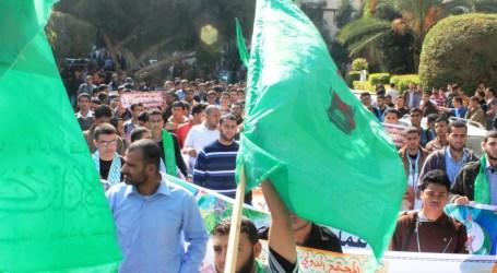 HENTIKAN BELAJAR, MAHASISWA GAZA GELAR PAWAI  SOLIDARITAS AL-AQSHA