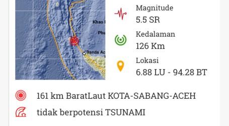Sabang Diguncang Gempa 5,5 SR