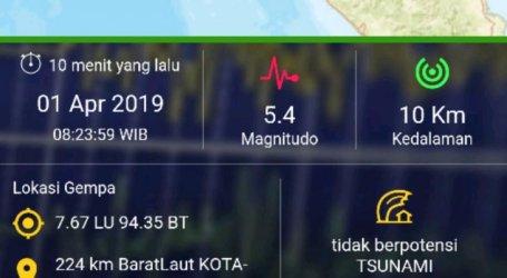 Sabang Diguncang Tiga Kali Gempa