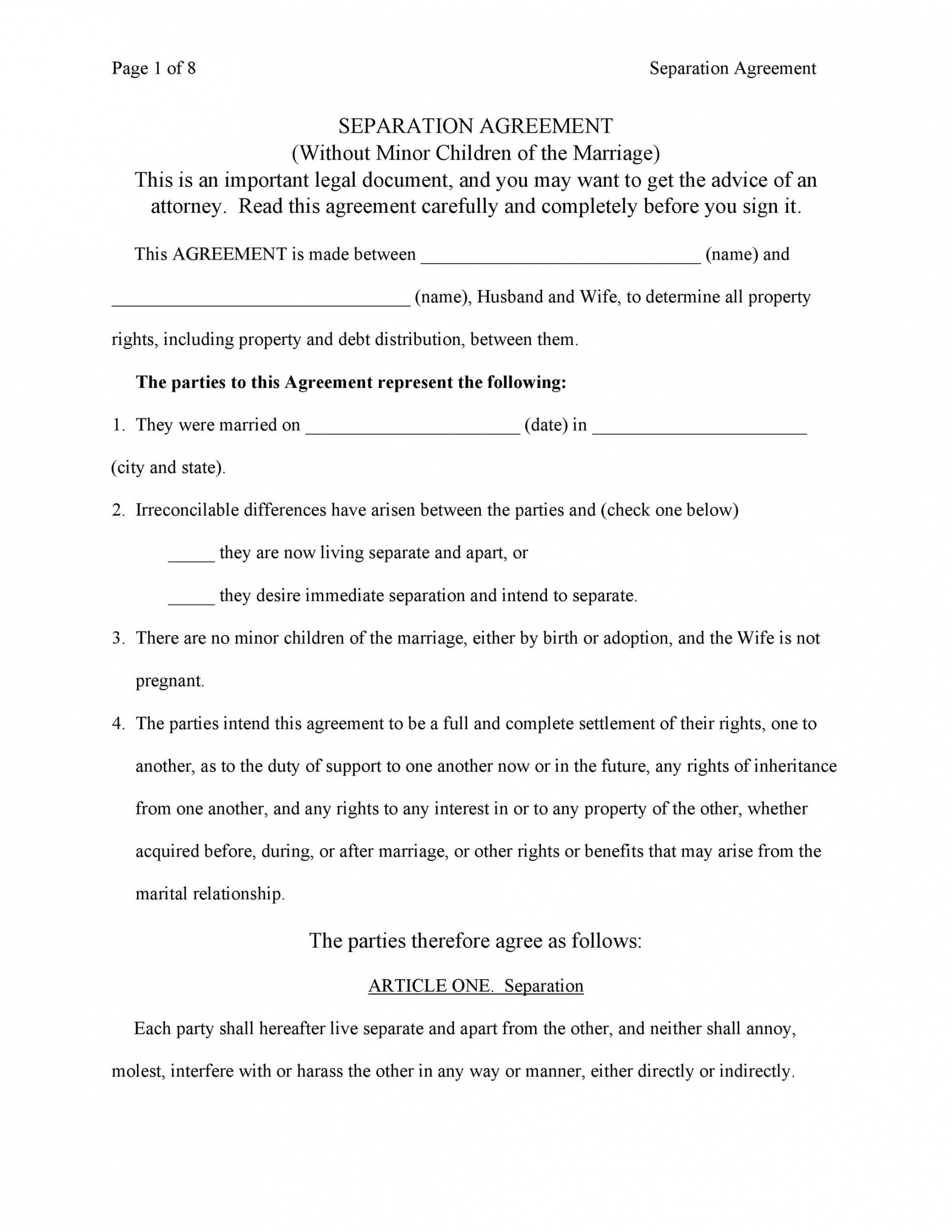 Separation And Property Settlement Agreement Template