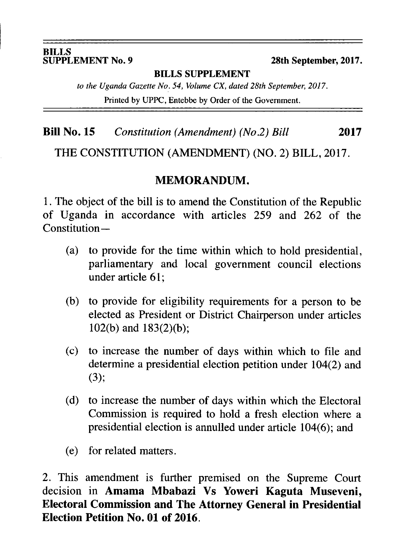 Age Limit The Constitution Amendment No 2 Bill 03 10 The Parliament Library