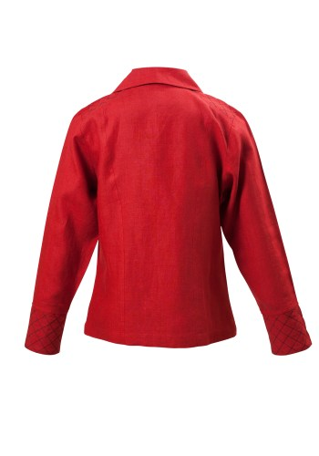 Little Toy Soldier Jacket In Red Linen Back