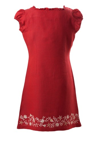 MINC Petite Ruby Rose Dress with embroidery all along bottom of dress with puff sleeves made in Red Linen