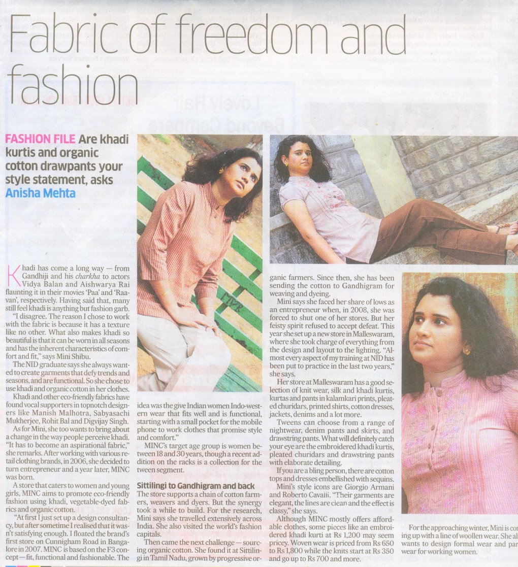 Deccan Herald article - Fabric of Freedom and Fashion featuring MINC