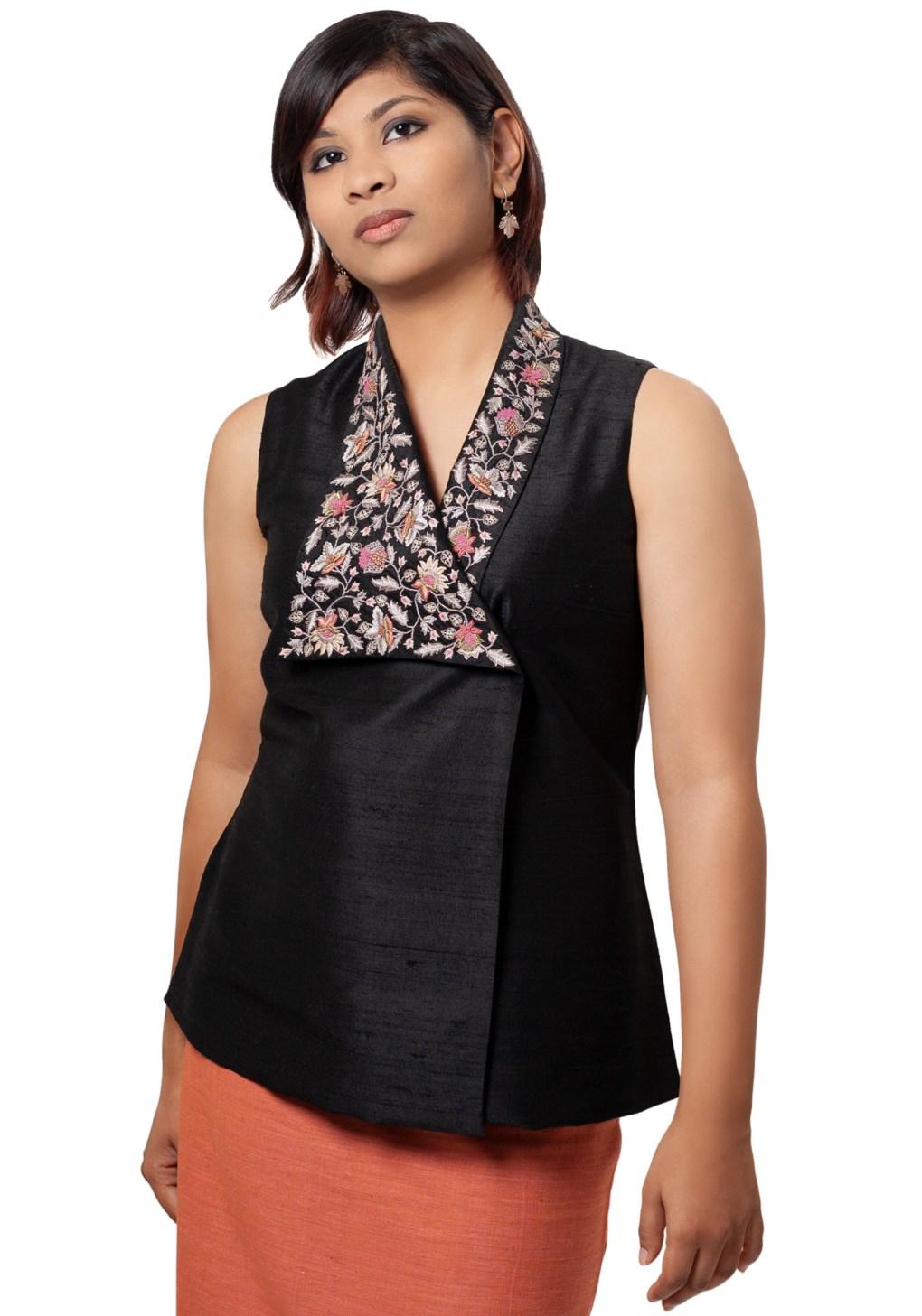 Elegant Asymmetric Hand Embroidered Top in Black Silk