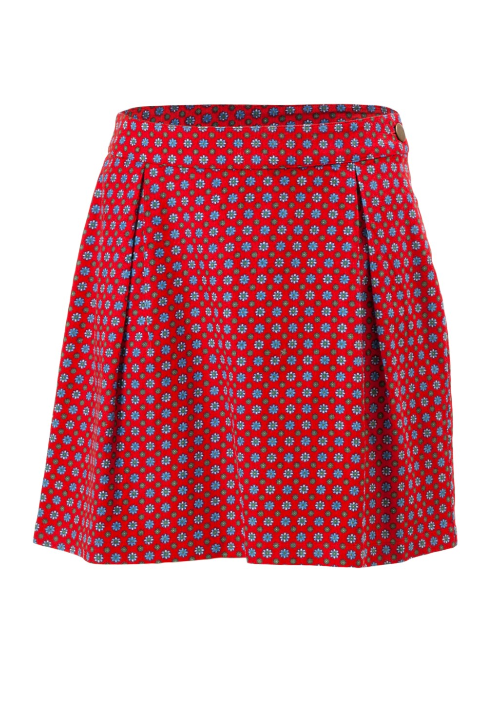 Holly Berry Girls Knee Length Skirt in Red Printed Cord