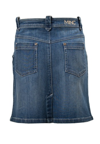 Malibu Girls Knee Length Skirt in Blue Denim