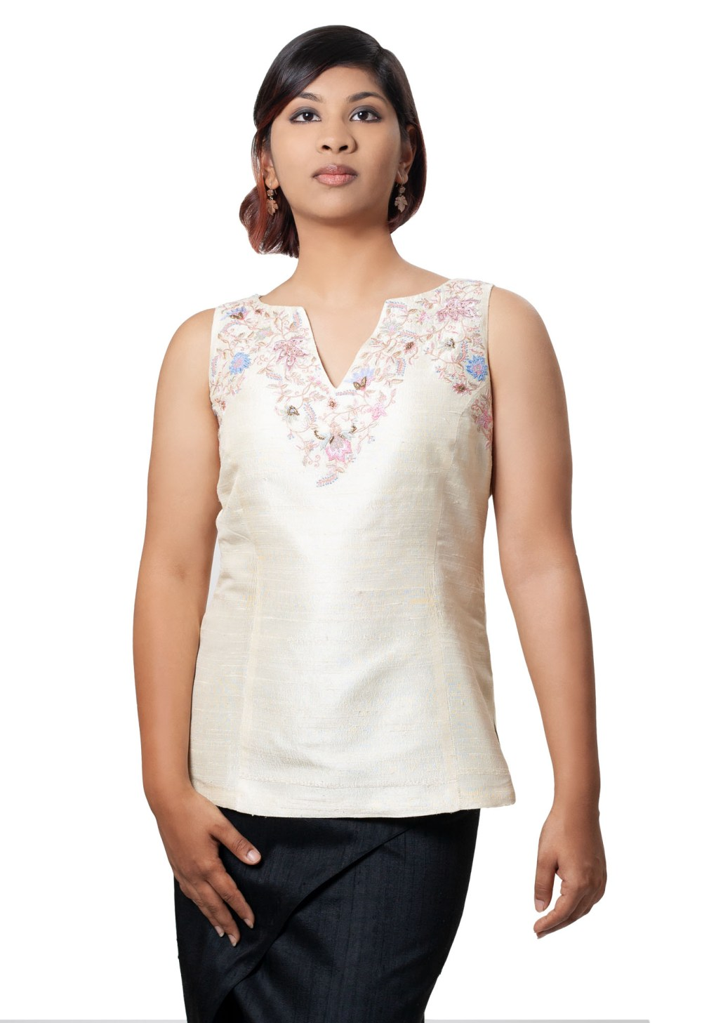 MINC Bridal Couture Sleeveless Hand Embroidered Top in Pale Ivory Silk