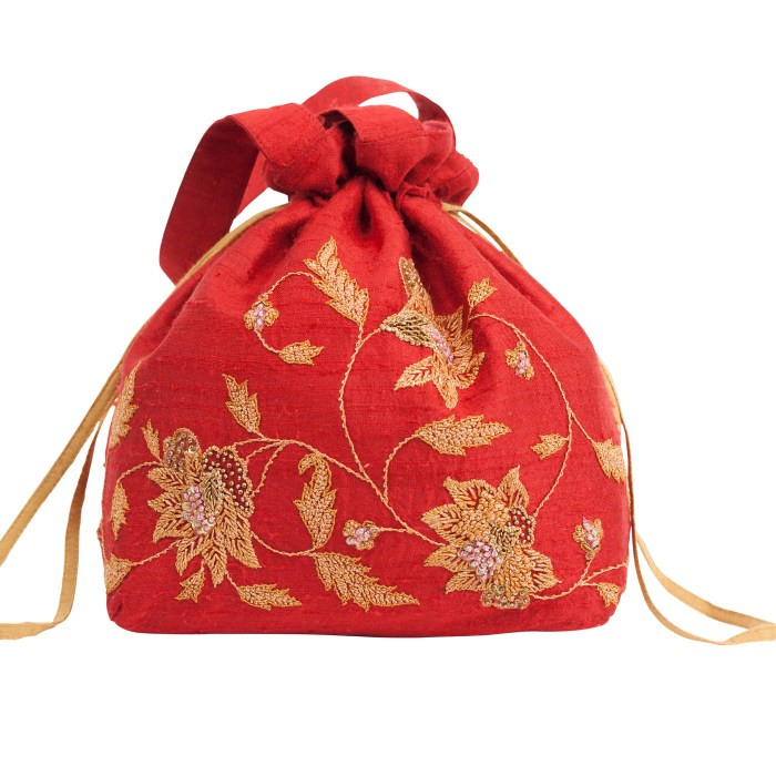 MINC Couture Embroidered Silk Potli Bag in Ruby Red