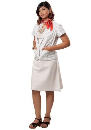 MINC Elegant Beige Cowl Neck Dress in Linen