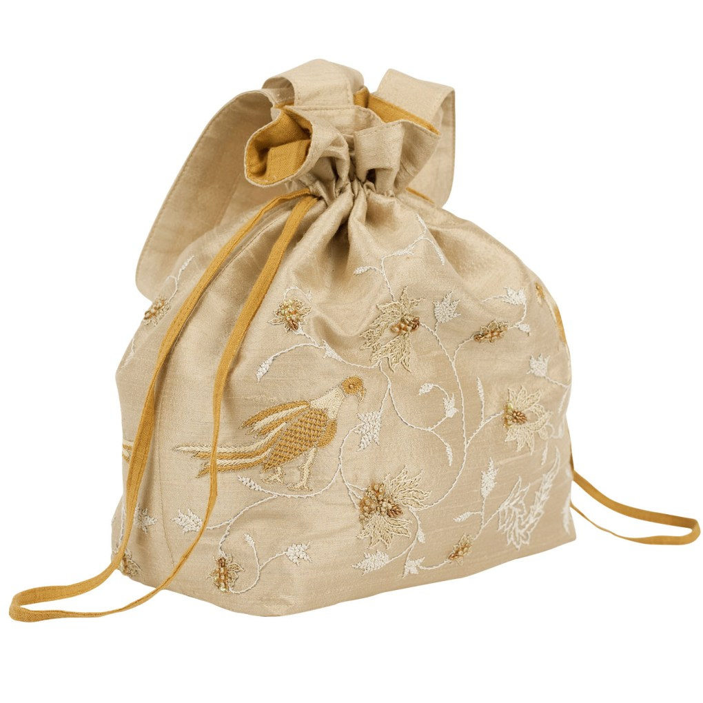 MINC Embroidered Raw Silk Potli Bag in Dune Beige