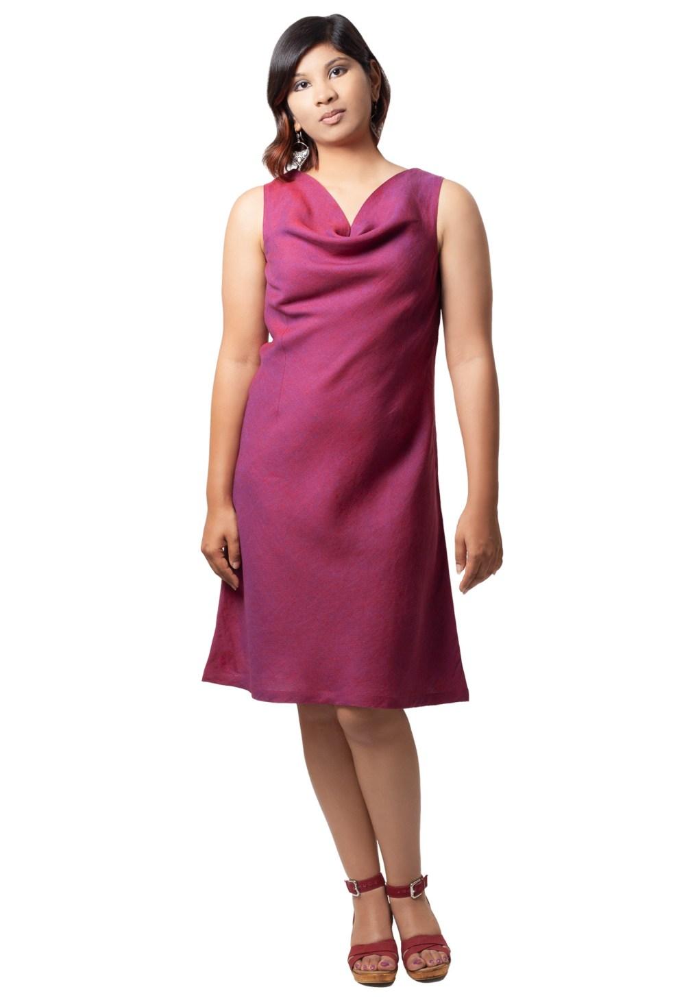 MINC ecofashion Plum Passion Cowl Neck Dress in Linen