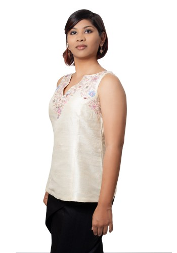 MINC ecofashion Sleeveless Hand Embroidered Top in Pale Ivory Silk