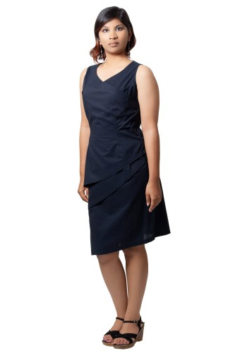 MINC ecofriendly clothing Helena Asymmetric Little Black Dress in Layered Cotton Voile