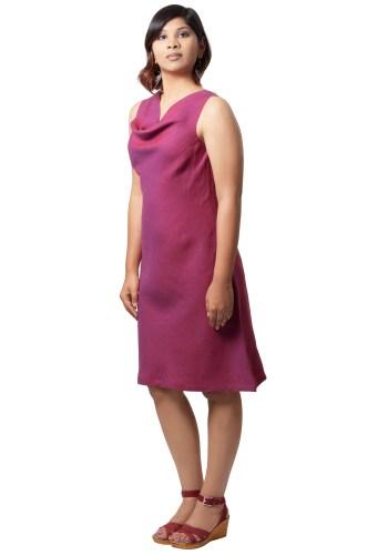 MINC womens ecofriendly clothing store Plum Passion Cowl Neck Dress in Linen