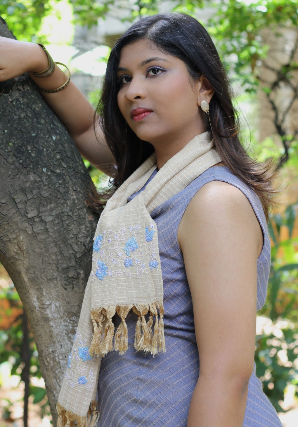 MINC Hand Embroidered Scarf in Champagne Silk