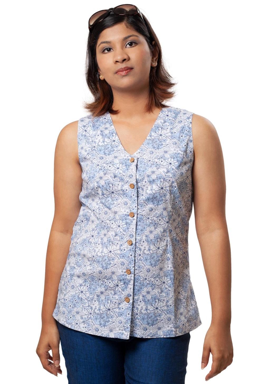 MINC ecofashion Slim Fit V-Neck Shirt in Printed White Cotton