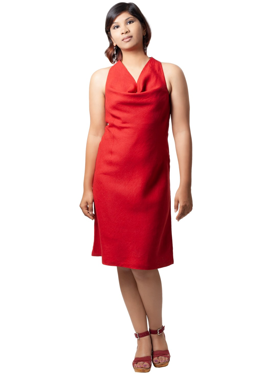 MINC womens ecofriendly clothing store Ruby Halter Cowl Dress In Red Linen